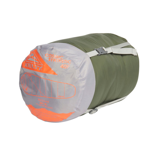 Kelty Cosmic Synthetic 40 Sleeping Bag, shown packed in gray/green stuff sack
