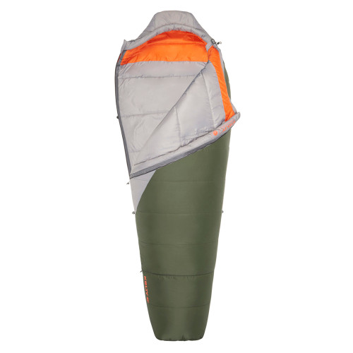 Kelty Cosmic Synthetic 40 Sleeping Bag, gray/green, shown partially unzipped