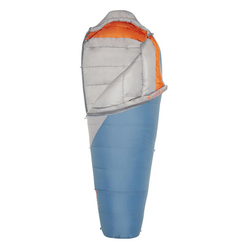 Kelty Cosmic Synthetic 20, gray/blue, shown partially unzipped