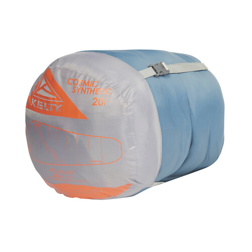 Kelty Cosmic Synthetic 20, shown packed inside gray/blue stuff sack