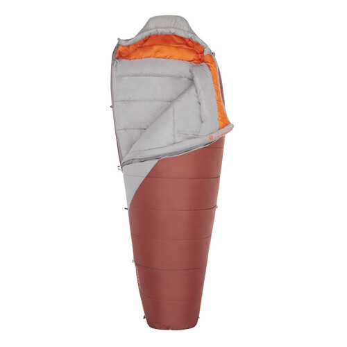 Kelty Cosmic Synthetic 0, gray/red, shown partially unzipped