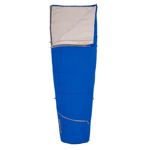Kelty Rambler 50 Sleeping Bag, Dazzling Blue, shown partially unzipped