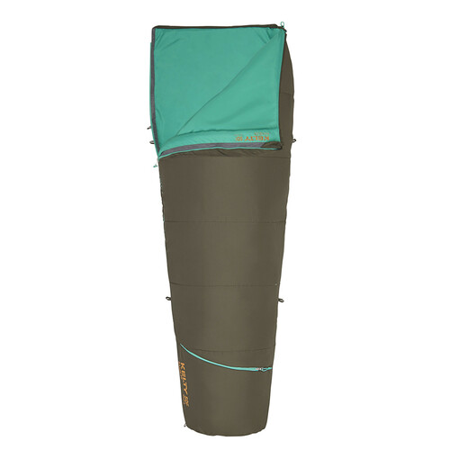 Kelty Rambler 50 Sleeping Bag, Peat, shown partially unzipped