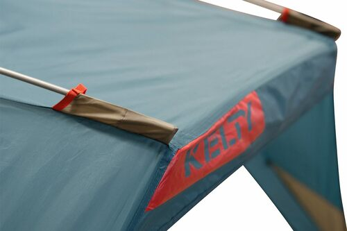 Close up of Kelty Cabana shelter, showing poles inserted into sleeves at top of tent