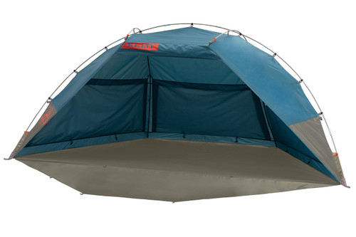 Kelty Cabana shelter, blue, front view, with privacy wall unrolled and laying on ground
