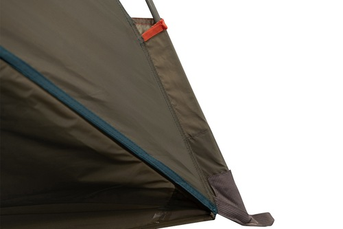 Close up of Kelty Cabana shelter, showing poles inserted into sleeves at bottom of tent