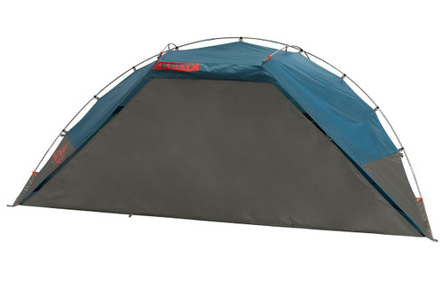 Kelty Cabana shelter, blue, front view, with privacy wall attached