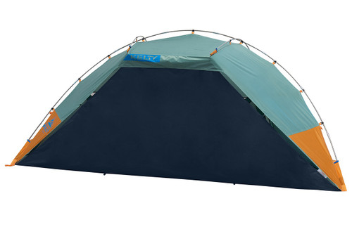 Kelty Cabana shelter, green, front view, with privacy wall attached