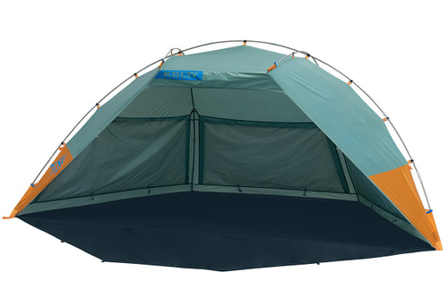 Kelty Cabana shelter, green, front view, with privacy wall unrolled and laying on ground