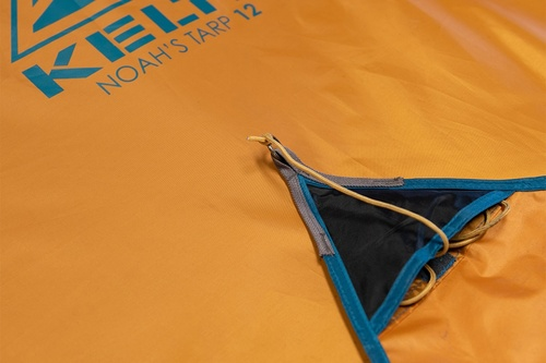Close up of Kelty Noah's Tarp 12, showing pocket for guyline