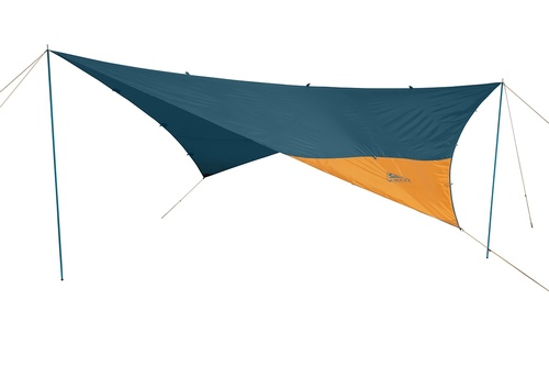 Kelty Noah's Tarp 12, blue, shown guyed out and supported by poles (not included)