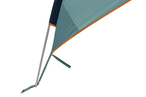 Close up of  Kelty Sunshade With Side Wall, showing end of pole inserted into grommet at the lower corner of shelter