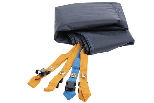 Kelty Tallboy 4 Footprint, gray, with orange and blue attachment points