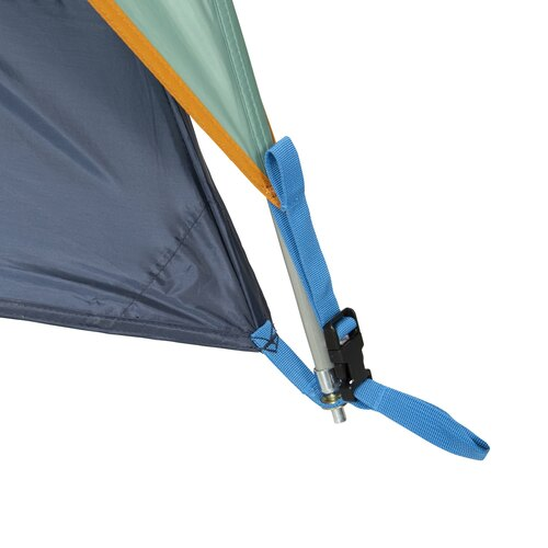 Close up of Kelty Tallboy 6 Tent, showing lower corner of tent