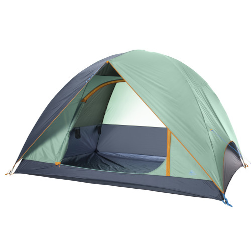 Kelty Tallboy 6 Tent, green, with fly attached and door open