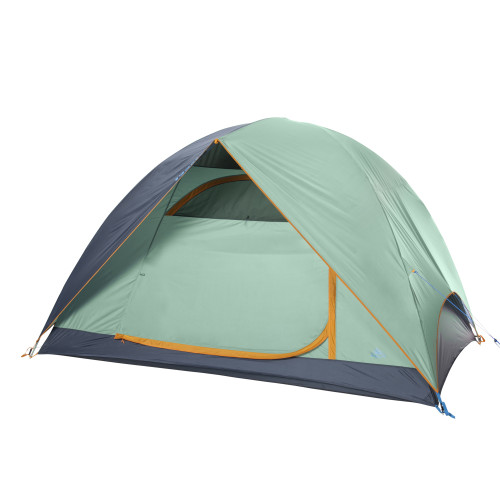Kelty Tallboy 6 Tent, green, with fly attached and door closed