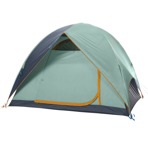 Kelty Tallboy 4 Tent, green, with fly attached and door closed