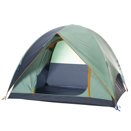 Kelty Tallboy 4 Tent, green, with fly attached and door open