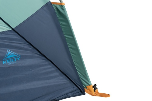 Close up of Kelty Wireless 6 tent, green, showing bottom corner of tent