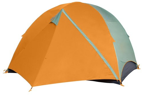 Kelty Wireless 6 tent, green, with fly attached and door closed