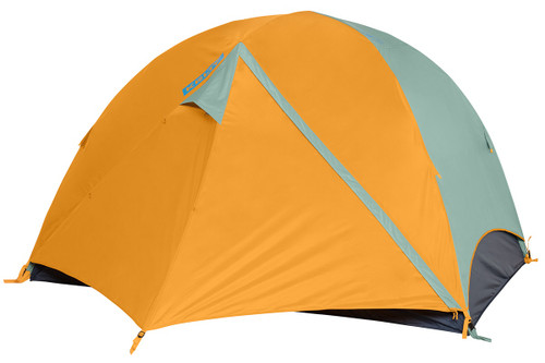 Kelty Wireless 4 tent, green, with fly attached and door closed
