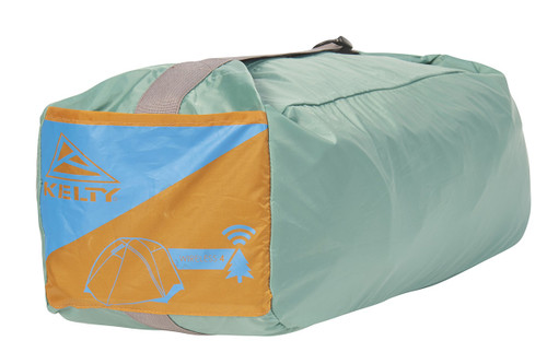 Kelty Wireless 4 tent, shown packed inside green storage bag