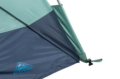 Close up of Kelty Wireless 4 tent, showing lower corner of tent