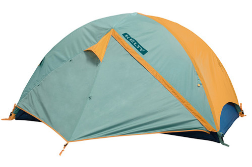 Kelty Wireless 2 tent, green, with fly attached and door closed