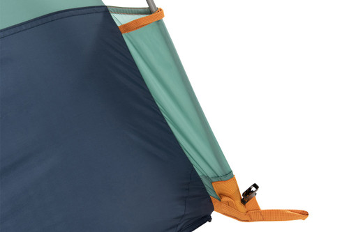 Close up Kelty Wireless 2 tent, showing bottom corner of tent
