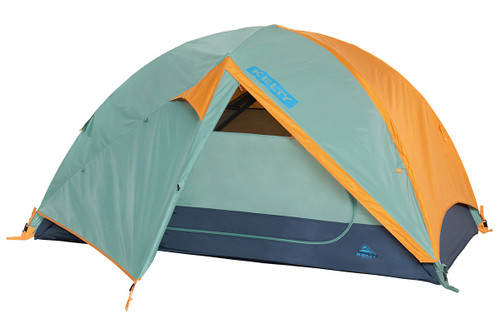 Kelty Wireless 2 tent, green, with fly attached and door open