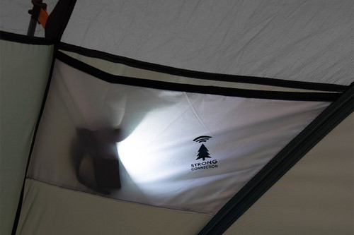 Interior of Kelty Wireless 2 tent, showing headlamp in gear loft