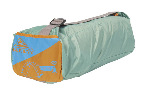 Kelty Wireless 2 tent, shown packed in green storage bag