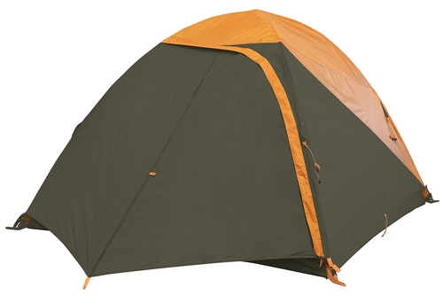 Kelty Grand Mesa 4 tent, brown, with fly attached and door closed