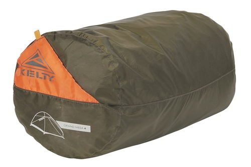 Kelty Grand Mesa 4 tent, shown packed inside brown storage bag