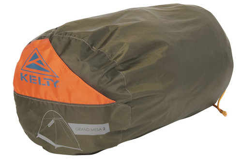 Kelty Grand Mesa 2 tent, shown packed inside brown storage bag