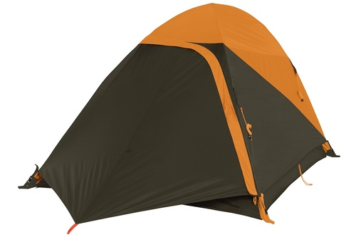 Kelty Grand Mesa 2 tent, brown, with fly attached and door open