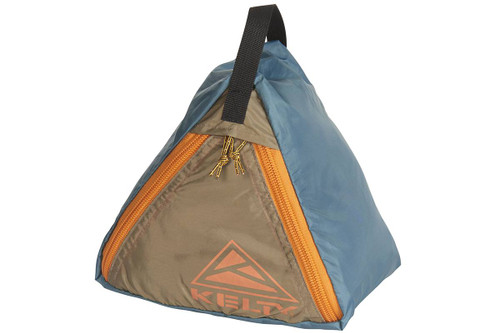 Kelty Sand Bag Stake, blue/orange, showing how product is a triangle-shaped nylon bag that can be filled with sand, rocks or other heavy objects