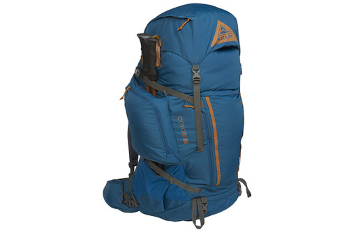Kelty Coyote 85 backpack, Lyons Blue/Golden Oak, front view, shown with trekking poles attached to side of pack