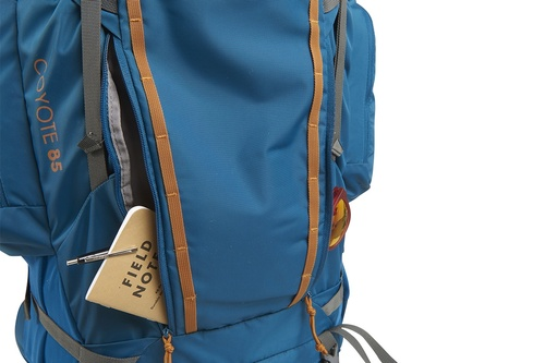Kelty Coyote 85 backpack, Lyons Blue/Golden Oak, shown with 1 front pocket open