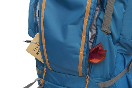 Kelty Coyote 85 backpack, Lyons Blue/Golden Oak, shown with 2 front pockets open