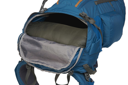 Kelty Coyote 85 backpack, Lyons Blue/Golden Oak, shown with sleeping bag compartment open
