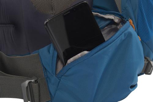 Kelty Coyote 85 backpack, Lyons Blue/Golden Oak, shown with waist belt pocket open