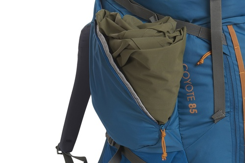 Kelty Coyote 85 backpack, Lyons Blue/Golden Oak, shown with side pocket open