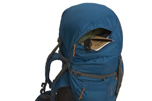 Kelty Coyote 85 backpack, Lyons Blue/Golden Oak, shown with top pocket open