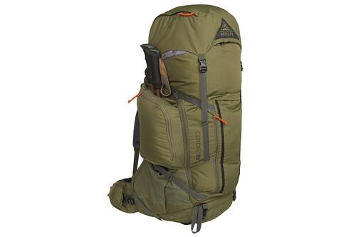 Kelty Coyote 105 backpack, Burnt Olive/Dark Shadow, front view, with trekking poles attached to side of pack