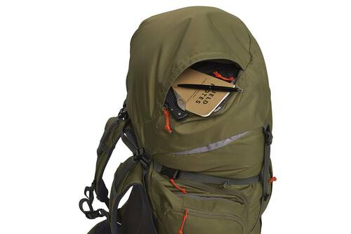 Kelty Coyote 105 backpack, Burnt Olive/Dark Shadow, shown with top pocket open