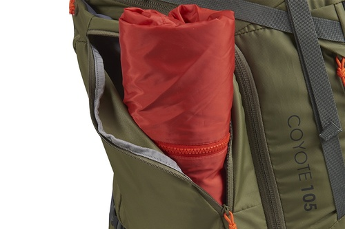 Kelty Coyote 105 backpack, Burnt Olive/Dark Shadow, shown with side pocket open