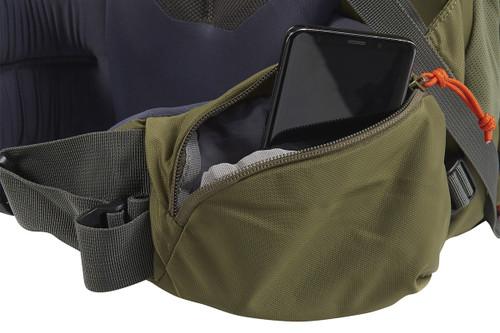 Kelty Coyote 105 backpack, Burnt Olive/Dark Shadow, shown with waist belt pocket open