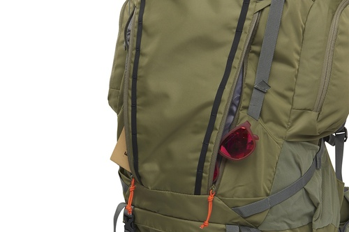 Kelty Coyote 105 backpack, Burnt Olive/Dark Shadow, shown with 2 front pockets open