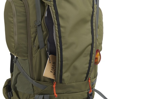 Kelty Coyote 105 backpack, Burnt Olive/Dark Shadow, shown with one front pocket open